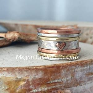 Sterling Silver Rustic Stack 7 Rings