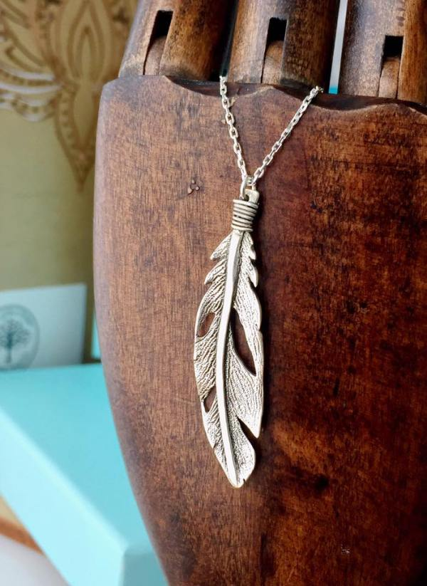 Sterling Silver Boho Weathered Feather Necklace