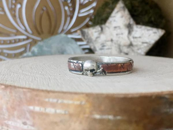 Sterling Silver and Copper Rustic Skull Ring