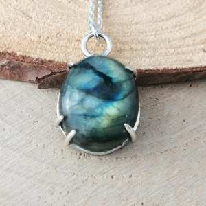 Sterling Silver Limited Edition Oval Labradorite Necklace