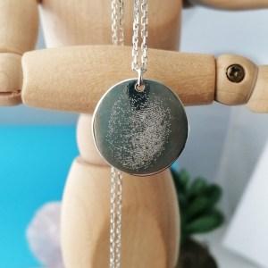 Sterling Silver Engraved Fingerprint Coin Necklace