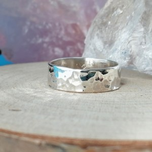Sterling Silver Hammered Ring 6mm