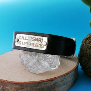 Sterling Silver Personalized Riveted Leather Bracelet
