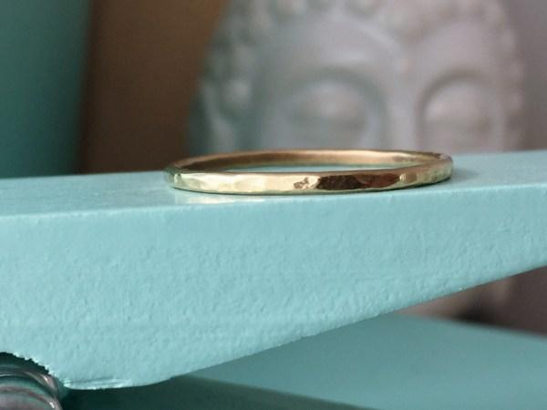 Brass Skinny Hammered Ring