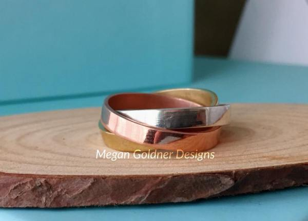 Sterling Silver 3 Band Tri-Color Russian Wedding Ring