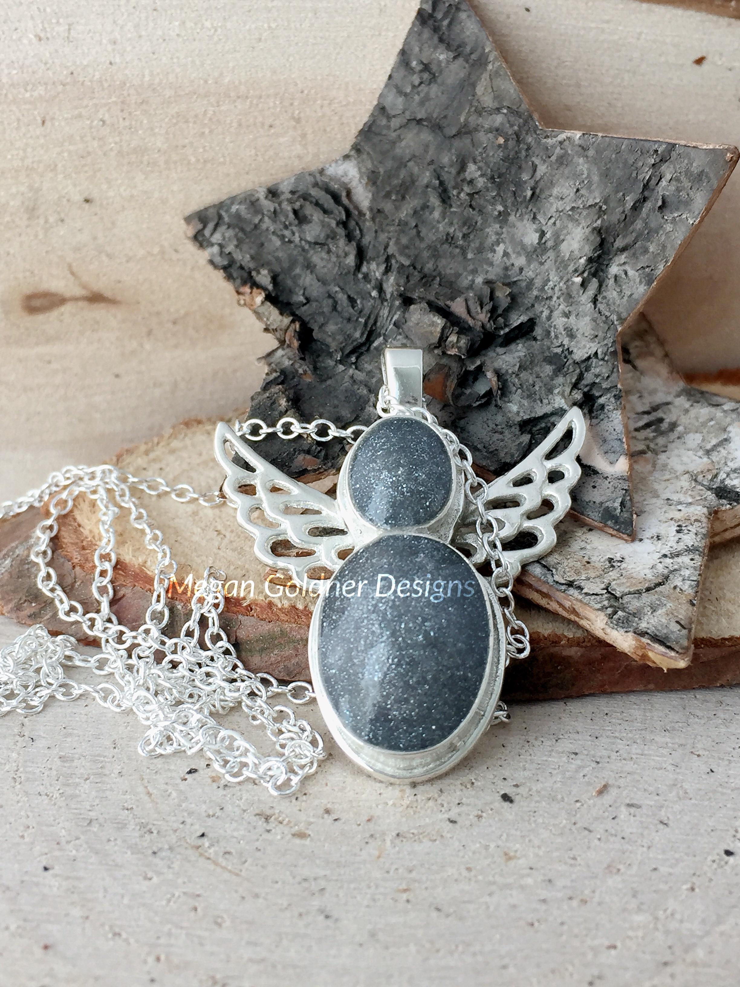 Sterling silver memorial angel necklace megan goldner designs sterling silver angel pendant aloadofball Image collections