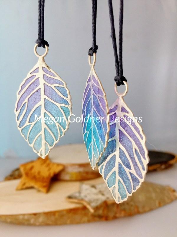 Sterling Silver Resin Skeleton Leaf Necklace