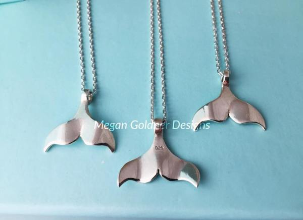 Sterling Silver Solid Whale Tail Necklace