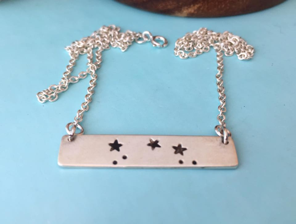 Sterling Silver Star Sign Bar Necklace