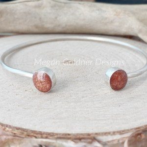 Sterling Silver Twin Bezel Memorial Bangle
