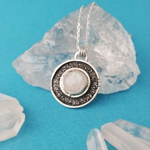 Sterling Silver Moonstone Texture Medallion Necklace