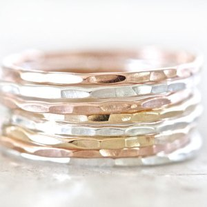 Plain Hammered Stack Rings