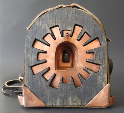 "Incompass, copper, wood, leather, stain 5"" x 4"" x 3.5"""