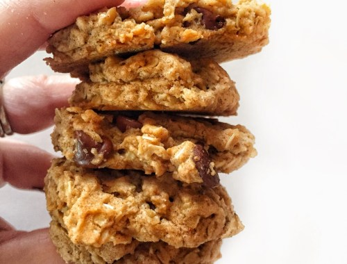 5 vegan oatmeal chocolate chip cookies stacked between fingers holding them together.