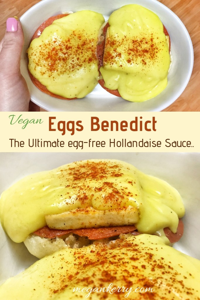 Two images of vegan eggs benedict shown, covered woth vegan hollandaise sauce and topped with smoked paprika