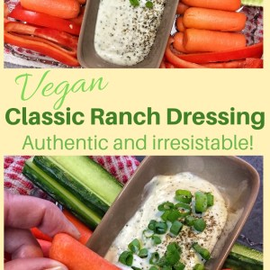 Classic vegan ranch dressing shown in a rectangular dish surrounded by fresh veggies