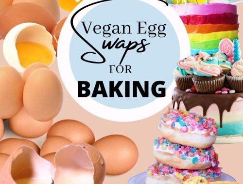 Eggs on the left and vegan baking on the right using egg substitutes