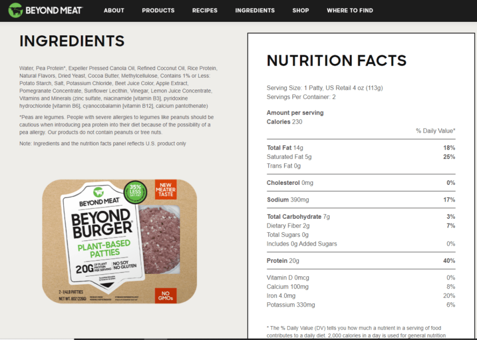 Image shows a package of beyond meat burgers