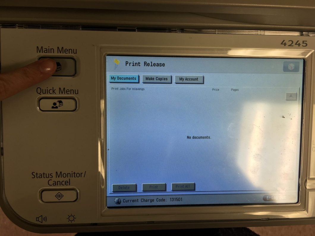 photo of printer screen and buttons