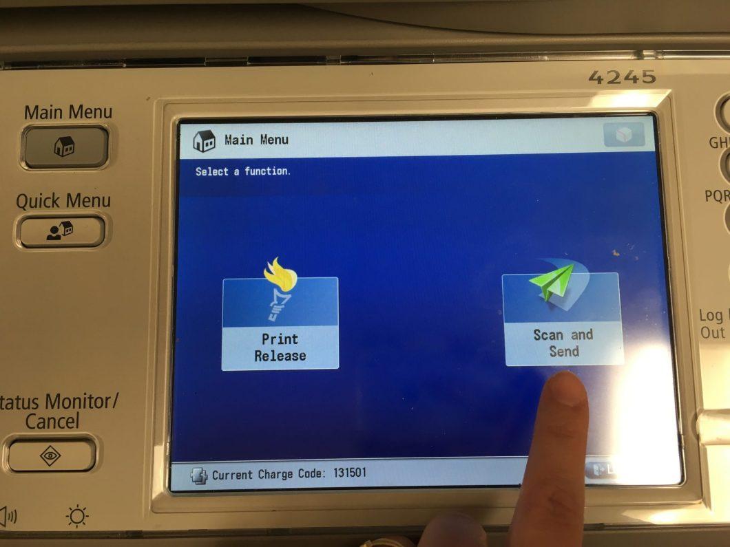 Photo of Main Menu screen.