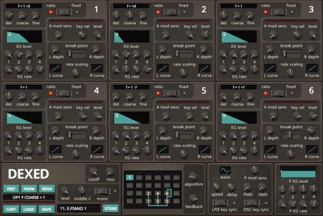 Shows several digital panels and visualizations for editing DX7 sounds.