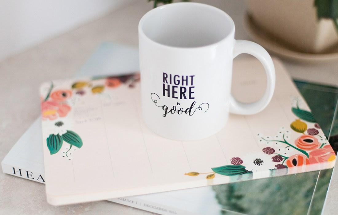 Wyoming wedding photographer's office and coffee mug announcing new blog