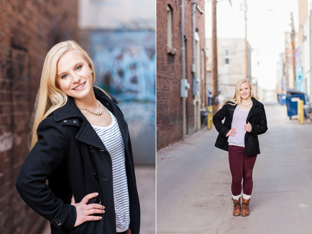 Senior portrait photography by in Downtown Laramie Wyoming by Megan Lee Photography