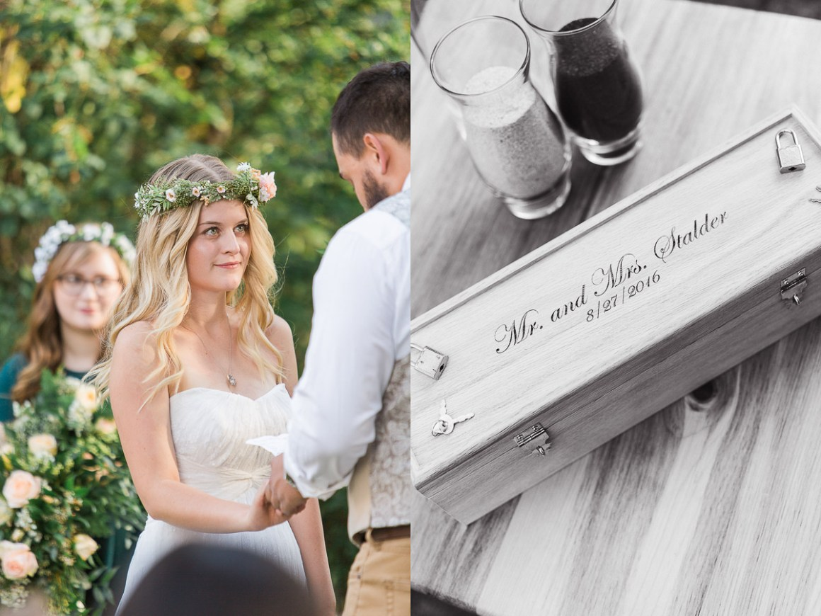 Amanda and Devin chose to seal an engraved box for their 5th year anniversary. They also had a sand unity ceremony, both were meaningful and lovely.
