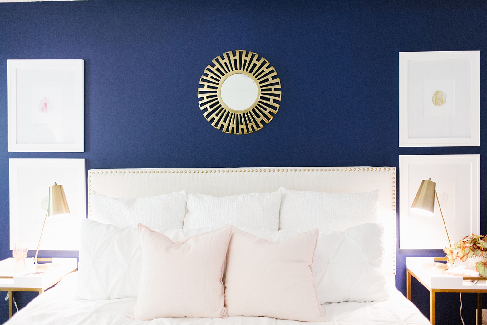 Modern Navy And Pink Master Bedroom