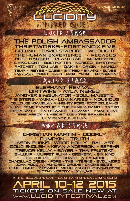 Lucidity 2015 Lineup