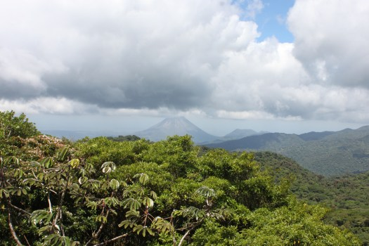 View of Volcan Arenal over the Cloud Forest Canopy of Santa Elena, Costa Rica 2014