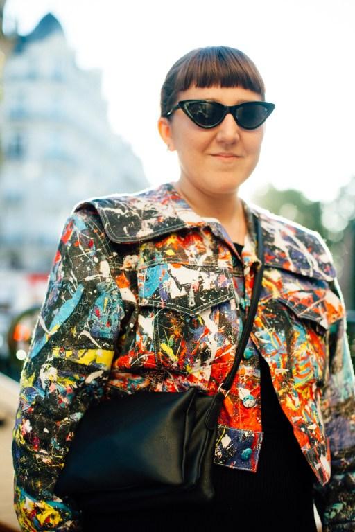 Fashion and lifestyle illustrator Megan St Clair wearing a Charles Jeffrey LOVERBOY jacket