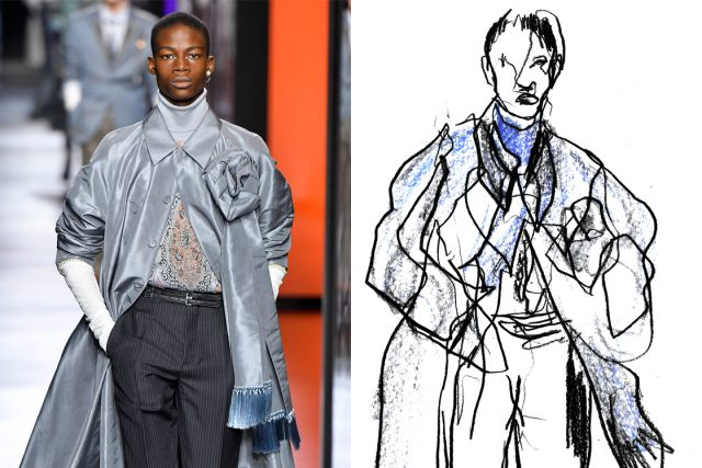 an image of dior homme aw20 with an illustration aside