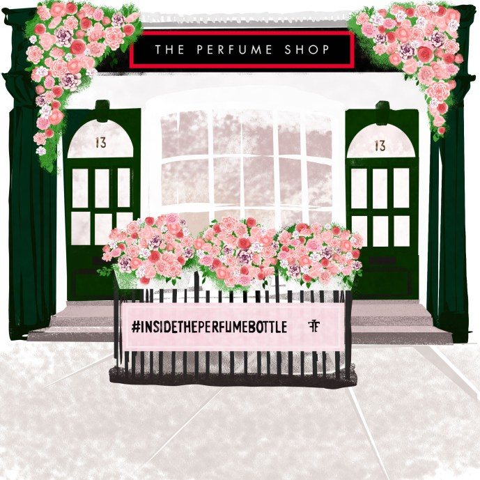 Townhouse editorial illustration for advertising an event by The Perfume Shop