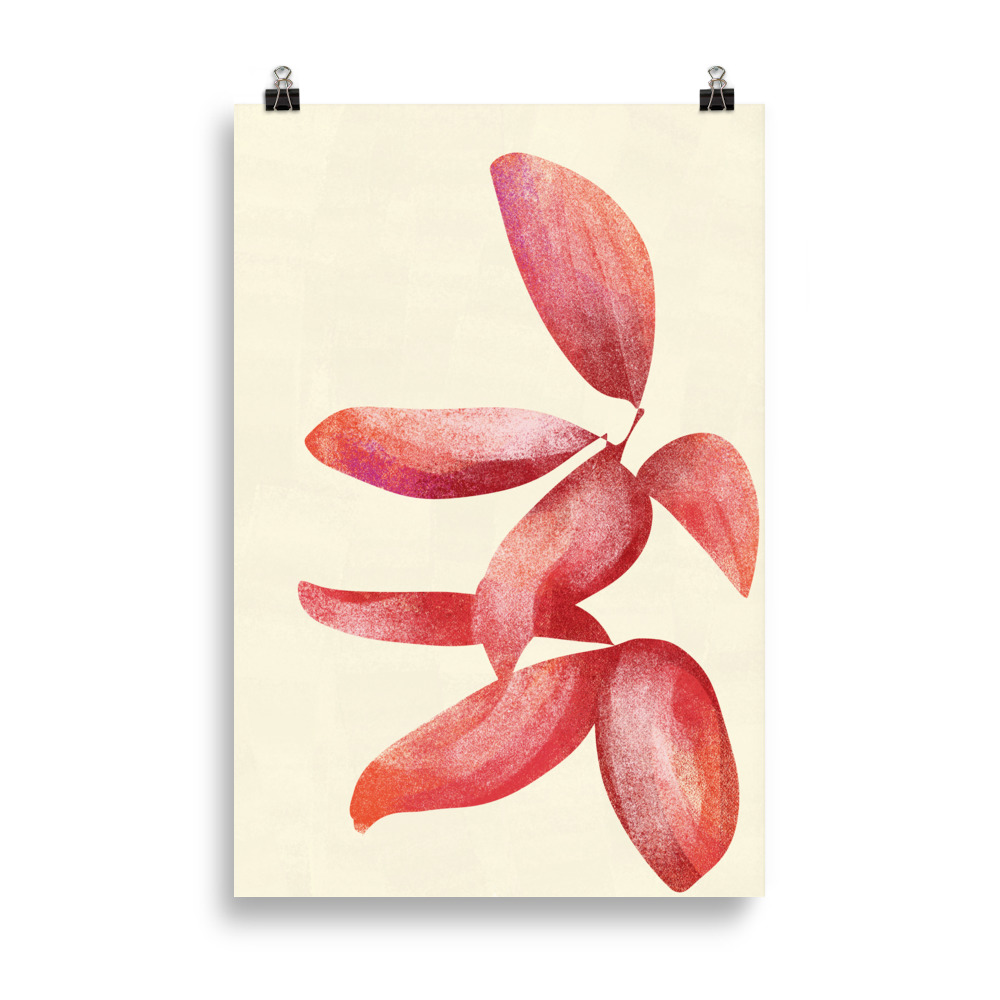 Plant minimal red artwork from Megan St Clair on a white background perfect art for interior