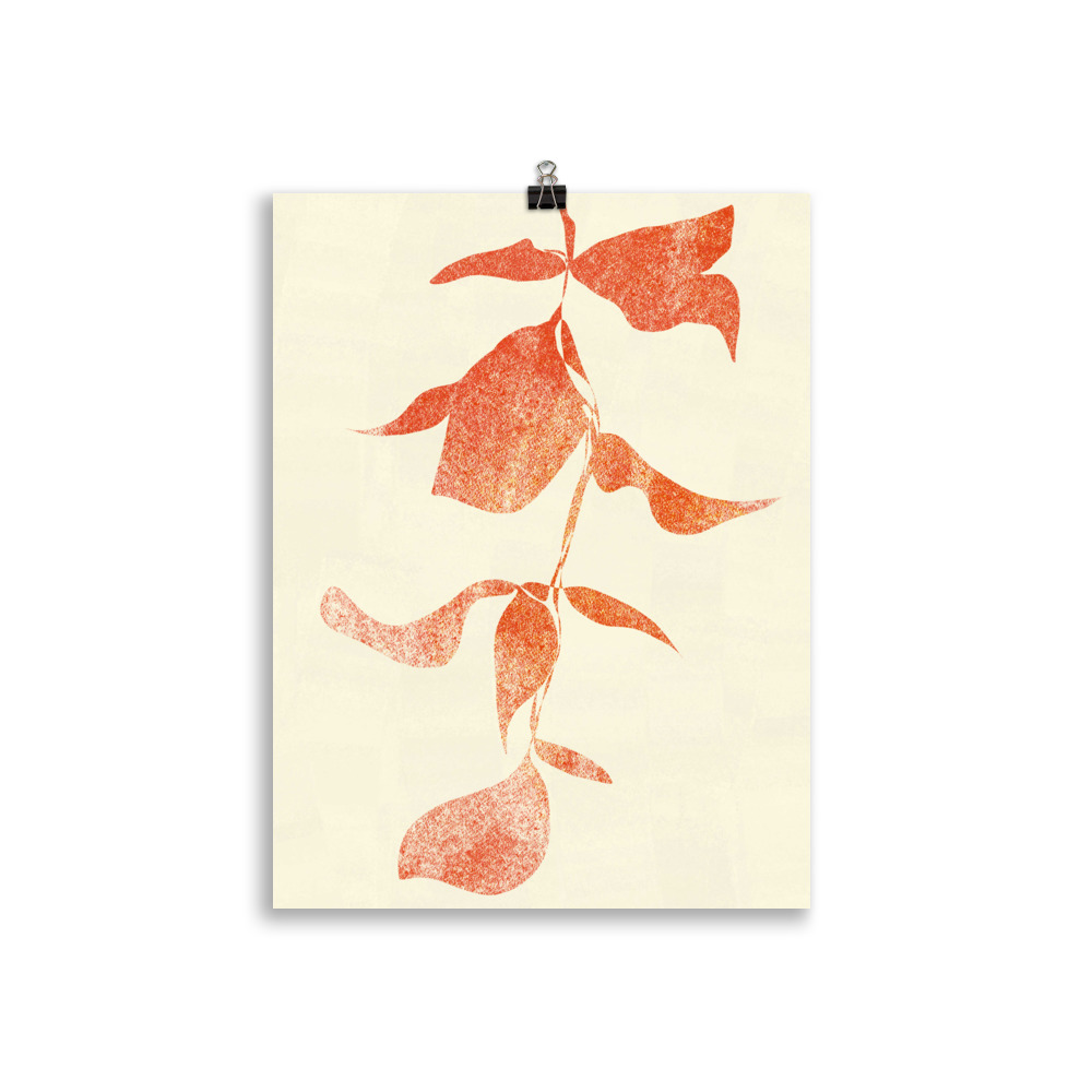 Plant minimal red artwork from Megan St Clair on a cream background perfect art for interior
