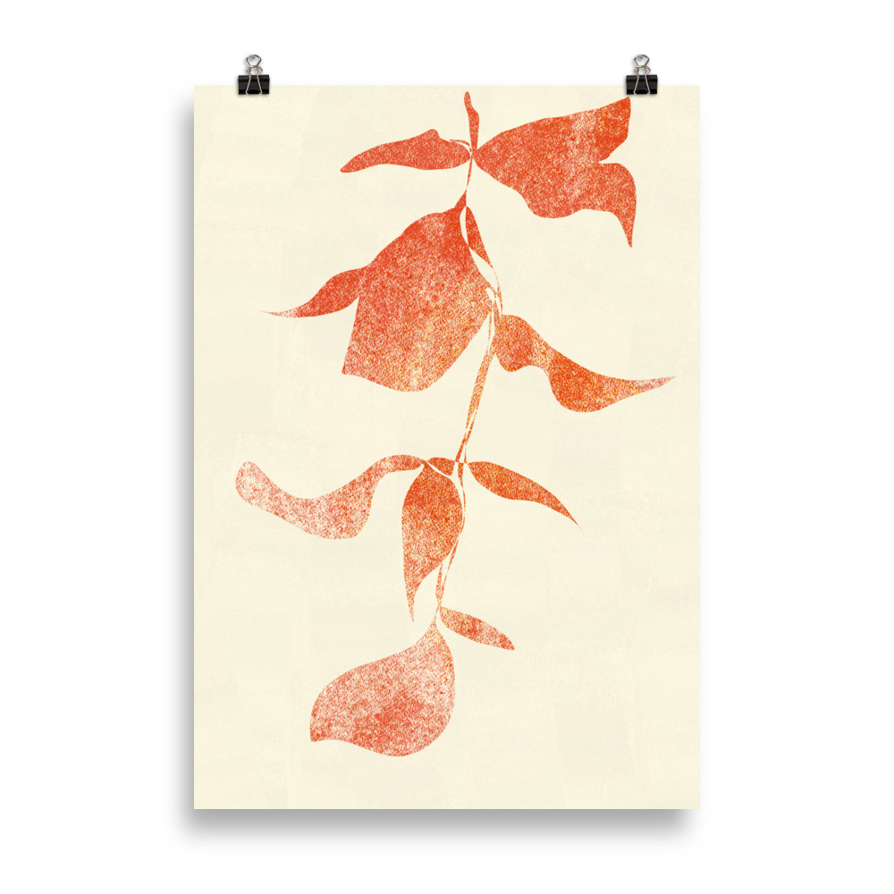 Plant minimal artwork from Megan St Clair on a cream background perfect art for interiors