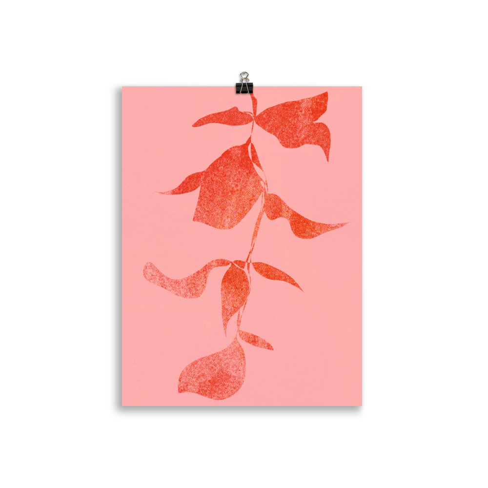 Plant minimal red artwork from Megan St Clair on a pink background perfect art for interior