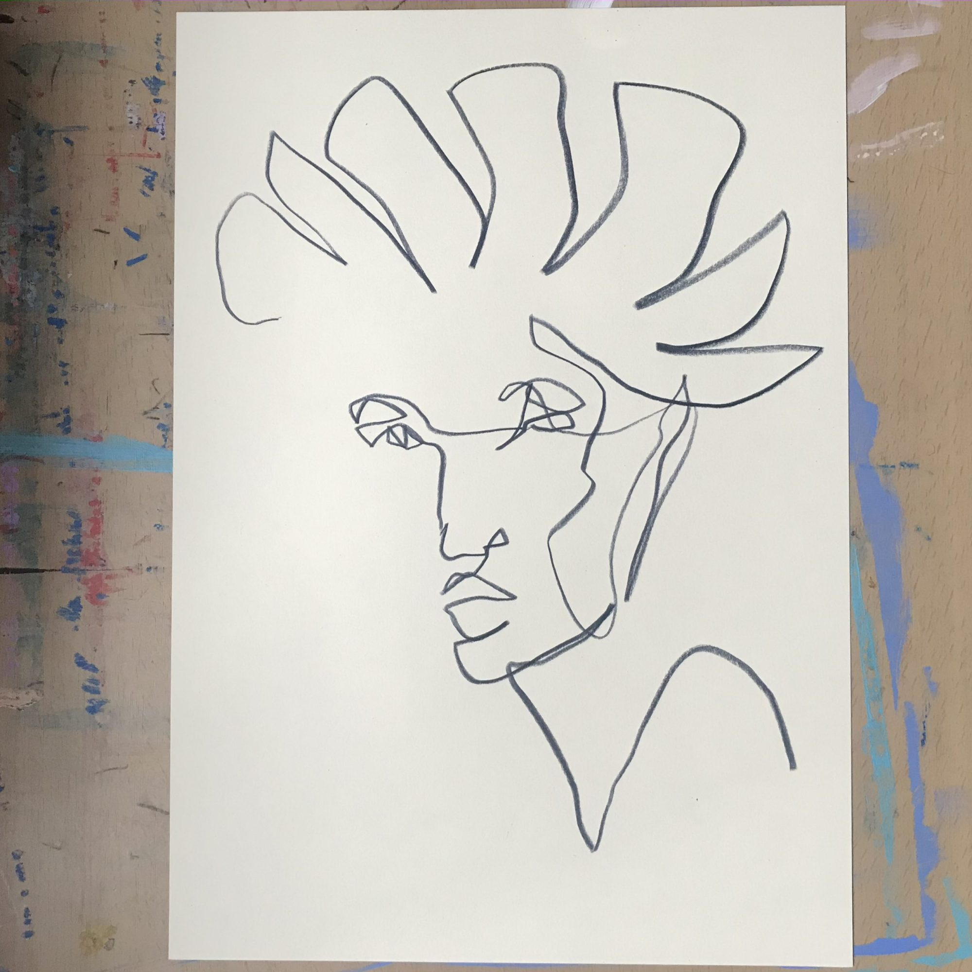 abstract line art of a woman with crown by Megan St Clair, original art