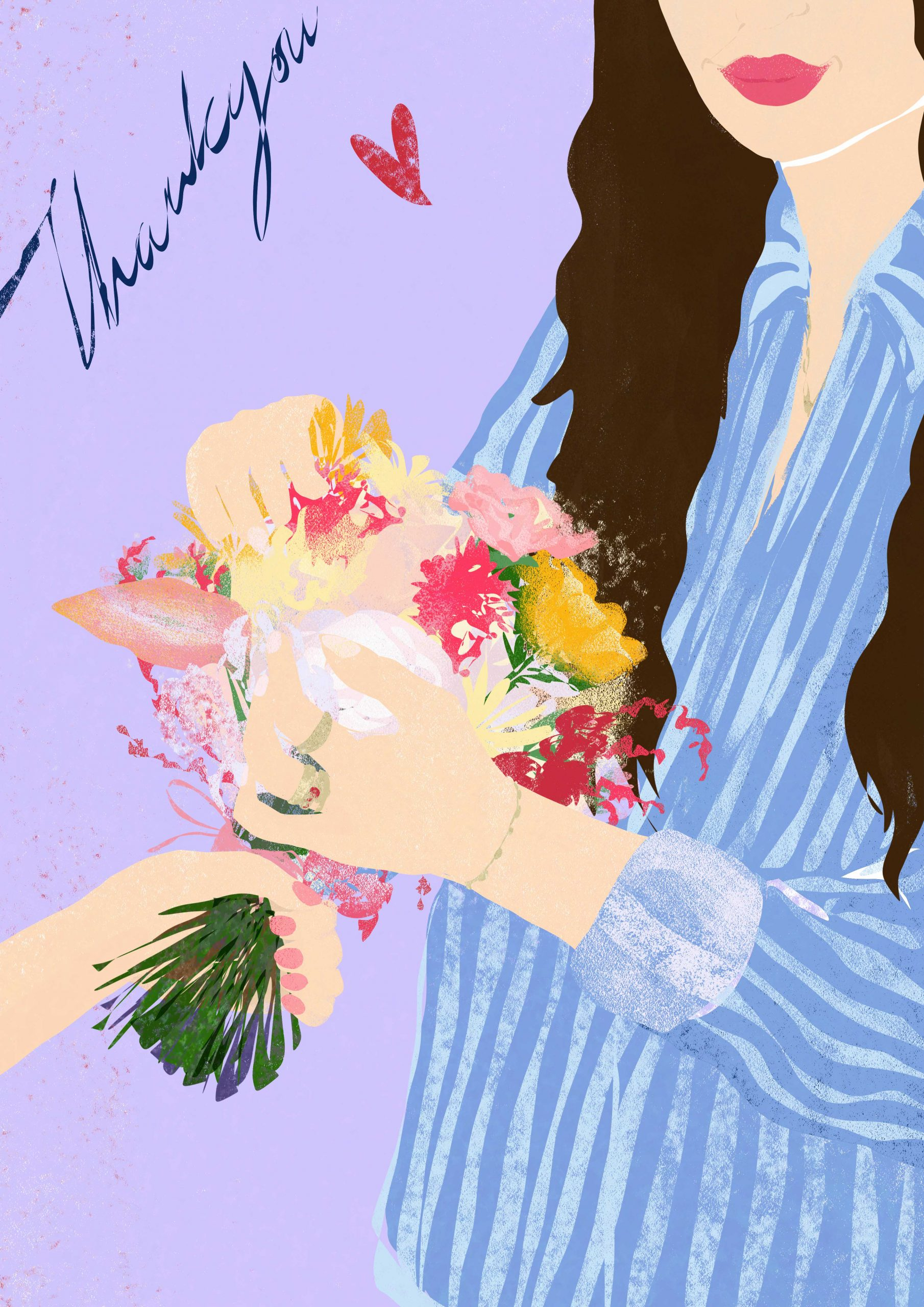 woman being gifted a bunch of flowers by fashion and lifestyle illustrator megan st clair