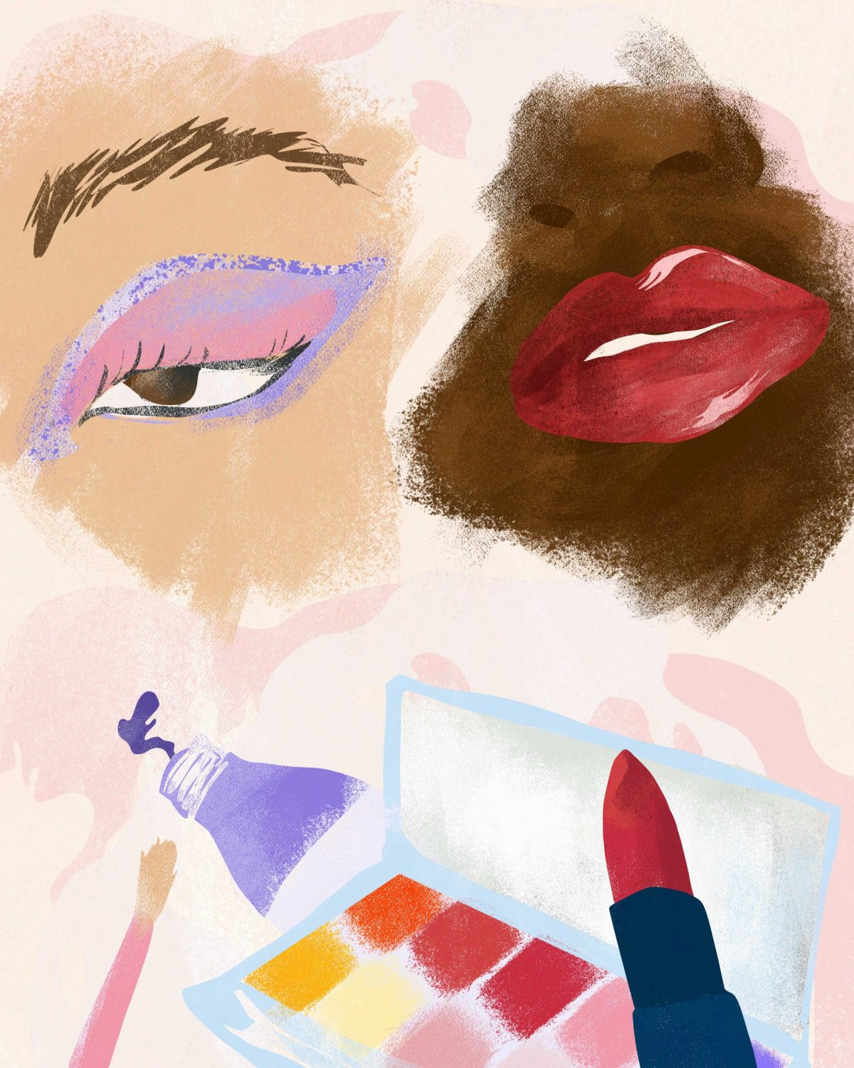 fashion editorial illustration of beauty products and eye make up and lipstick illustrator megan st clair