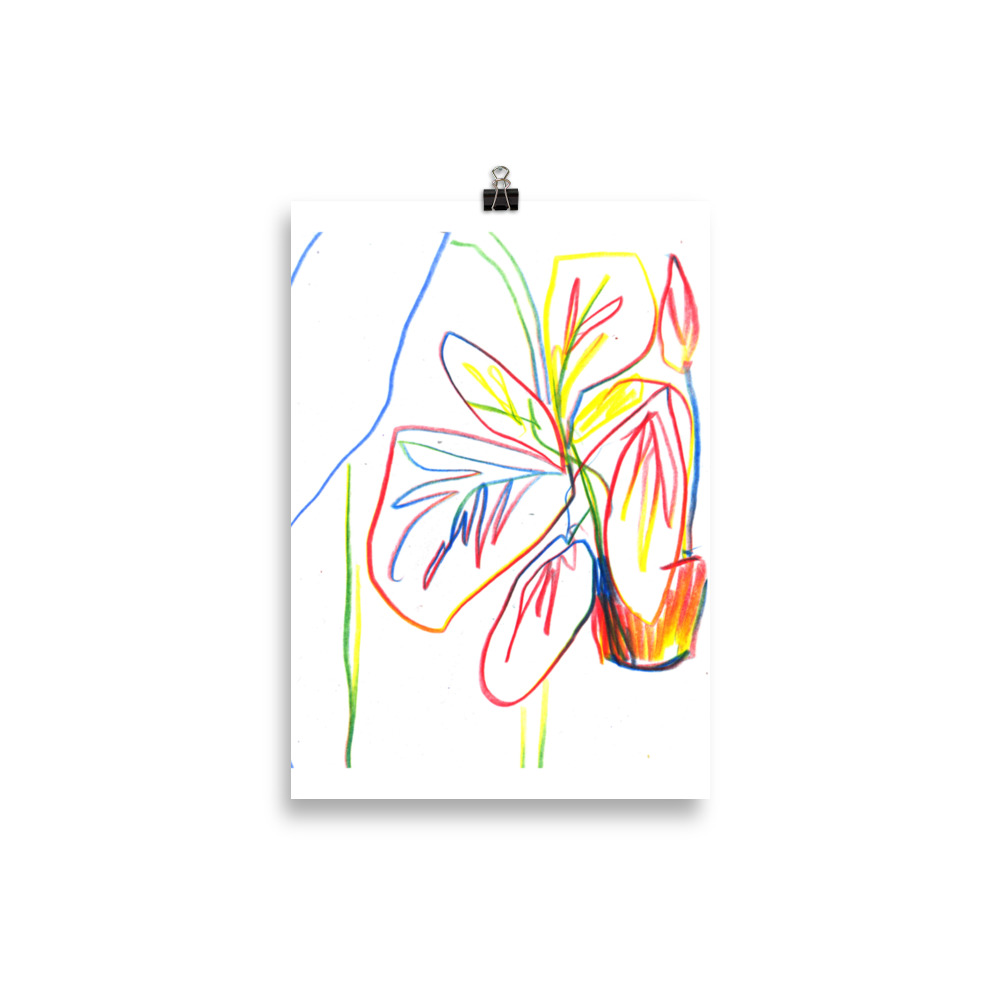 House plant in multicolour line | Art print