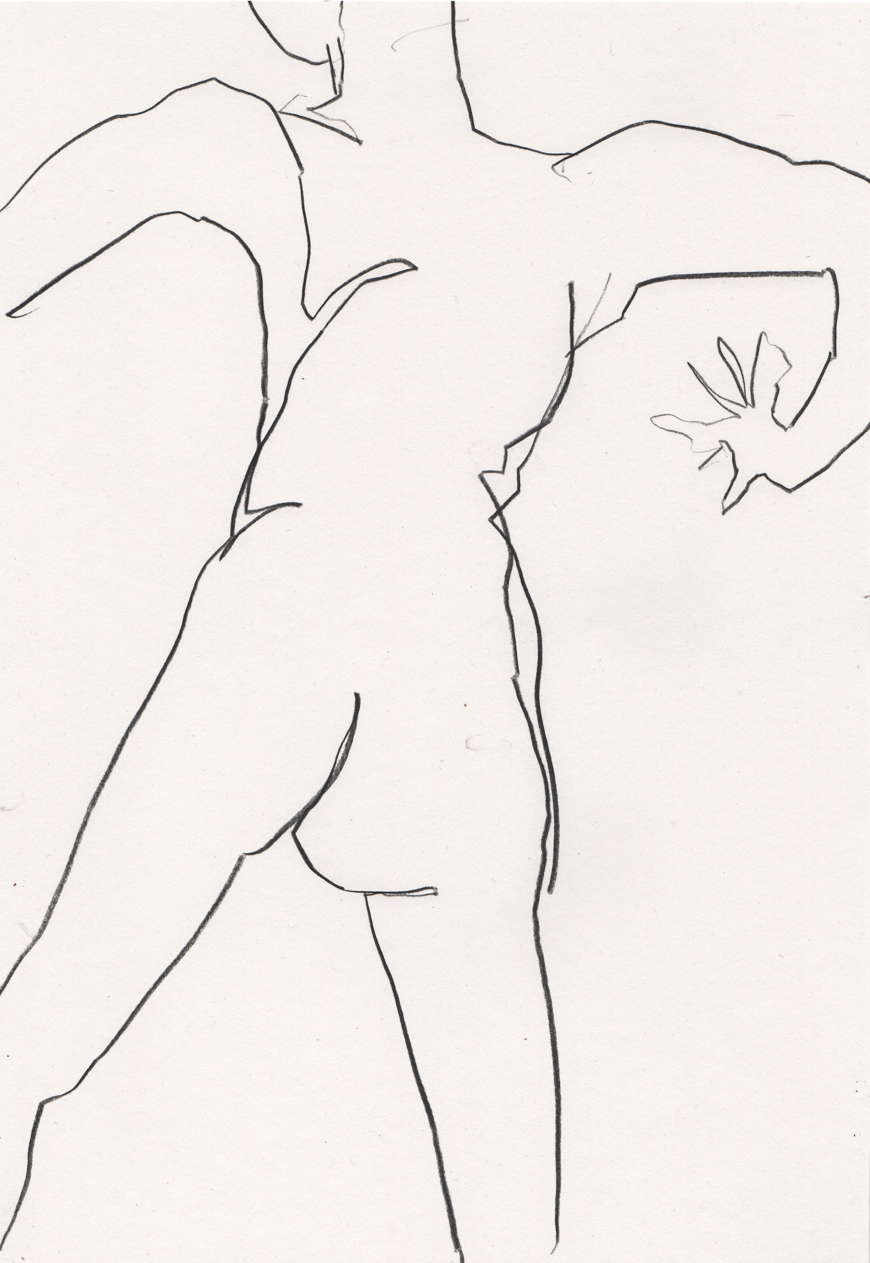 Nude drawing of woman in minimal line art by Megan St Clair 11