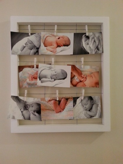 I bought a frame to finally hang up her birth photos. I love the way it turned out!