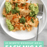Migas woth hot sauce and smashed avocado