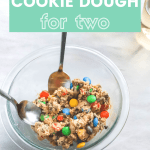 Edible Monster Cookie Dough for Two in a bowl with two spoons