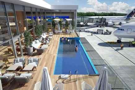 """El """"Aeropuerto Internacional"""" de Punta Cana agregará piscina de borde infinito al lado de la pista de aterrizaje ¡Algo que ningún otro en el mundo tiene!"""