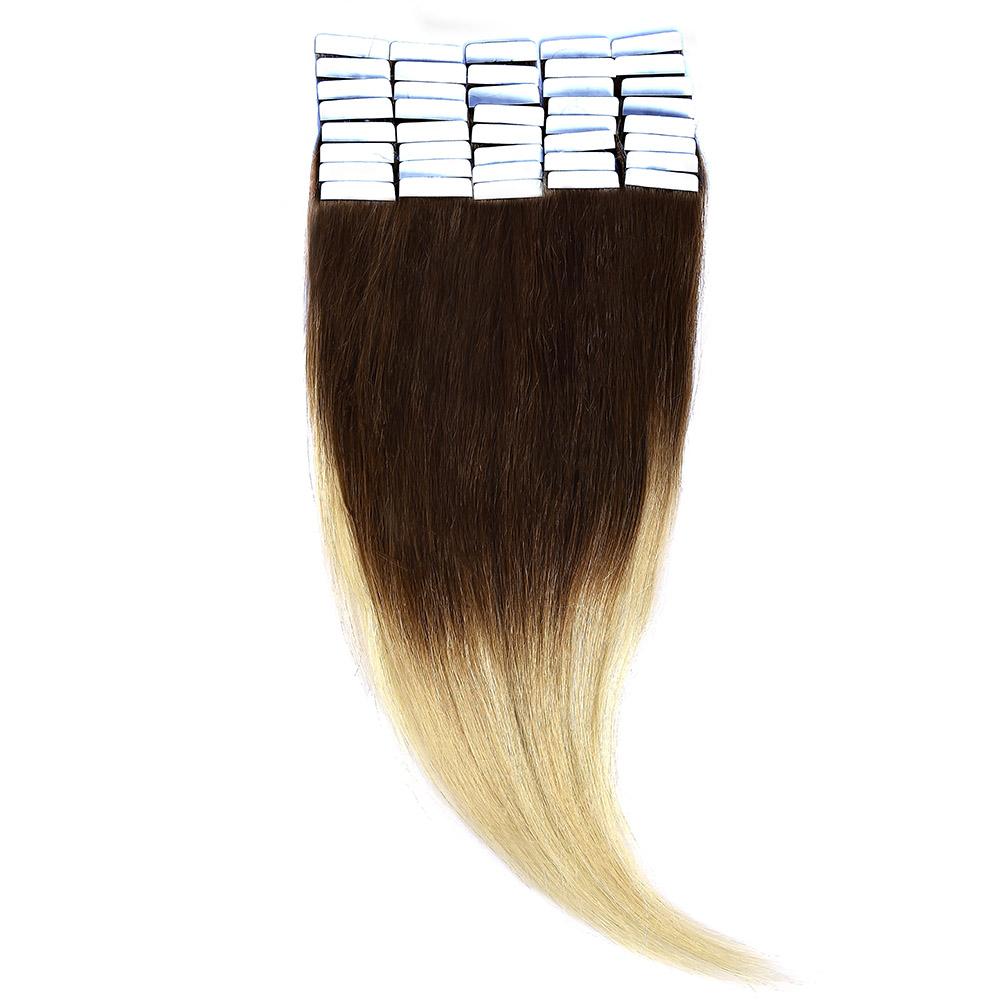 Tape-In Par Natural 50cm 40suv 100gr Ombre Saten Ciocolatiu-Blond Deschis #T4/60