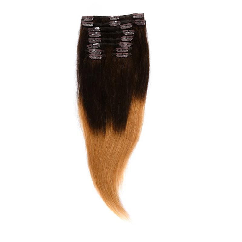 Clip-On Par Natural Volum 40cm 140gr Ombre Castaniu/Blond Miere #T2/27