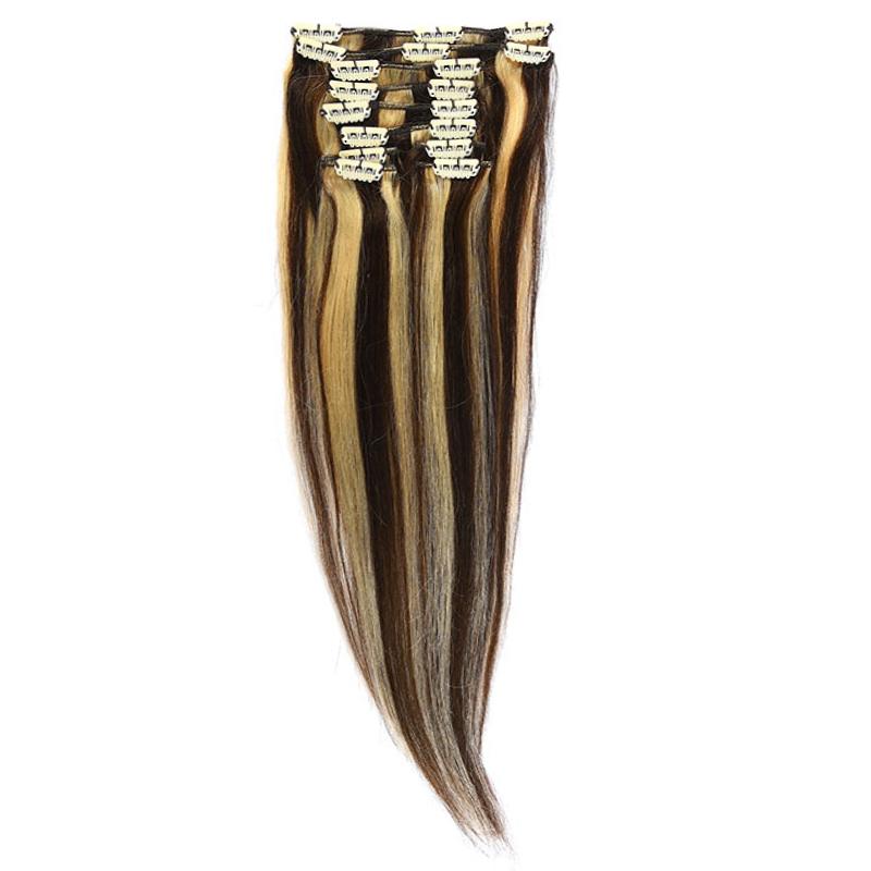 Clip-On Par Natural Volum 40cm 140gr Saten Ciocolatiu Suvitat/Blond Deschis #4/60